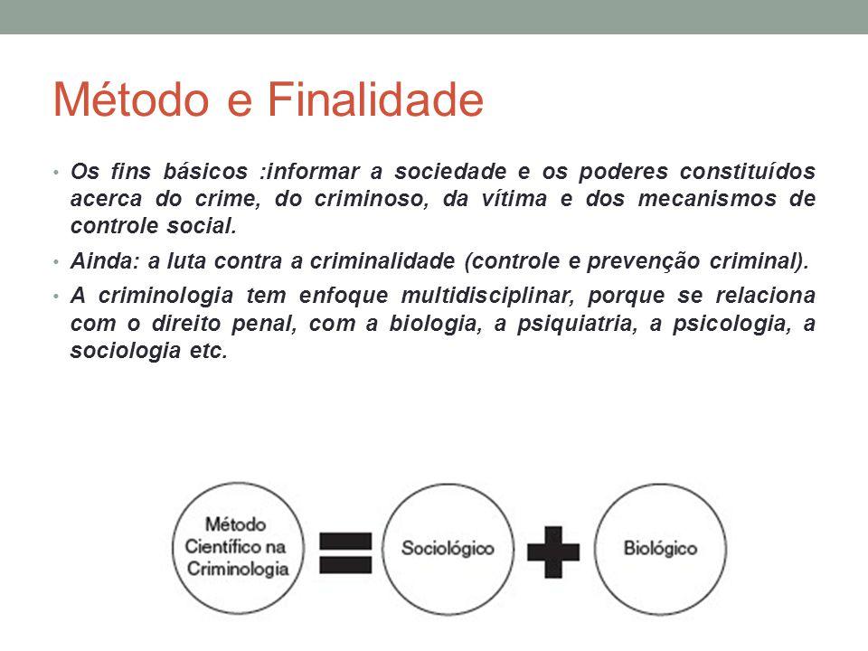 Método e Finalidade Os fins básicos :informar a sociedade e os poderes constituídos acerca do crime, do criminoso, da vítima e dos mecanismos de contr