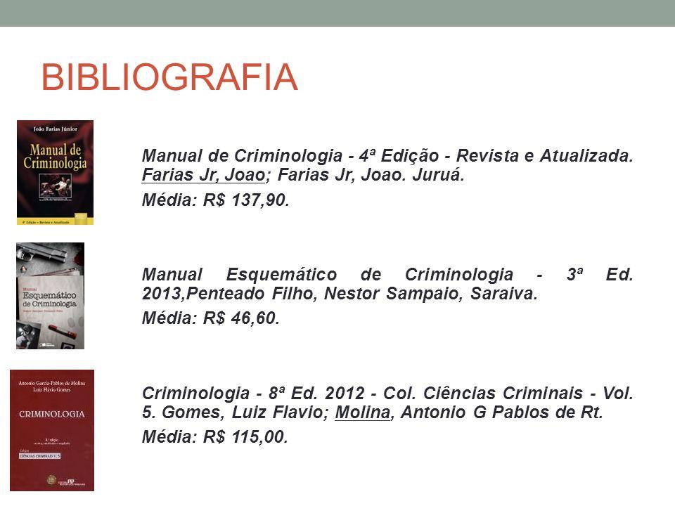 BIBLIOGRAFIA Manual de Criminologia - 4ª Edição - Revista e Atualizada. Farias Jr, Joao; Farias Jr, Joao. Juruá. Média: R$ 137,90. Manual Esquemático