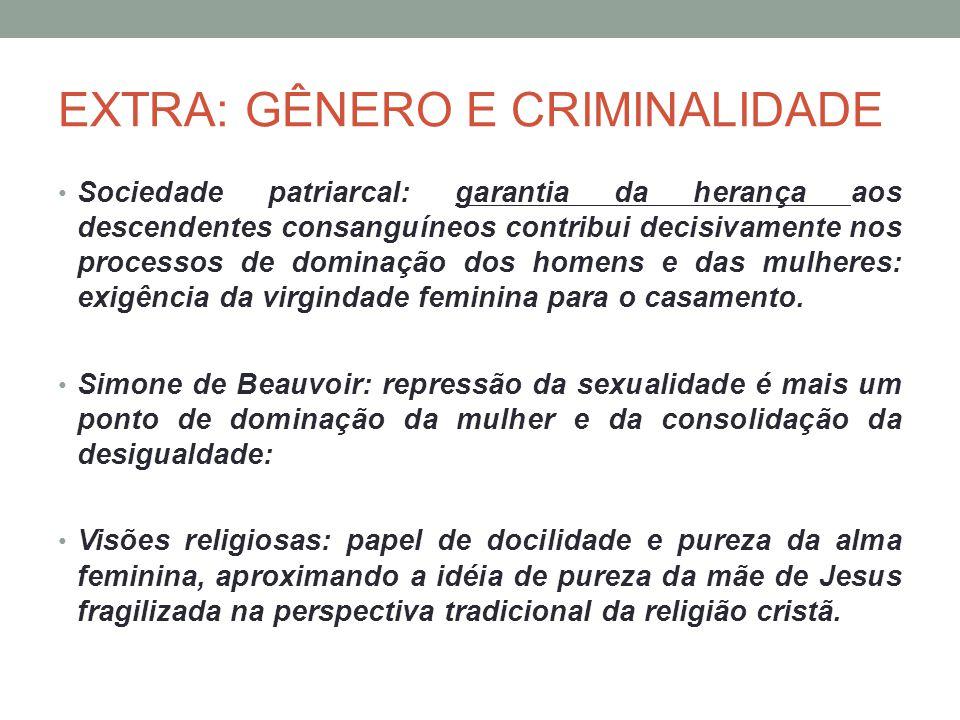 EXTRA: GÊNERO E CRIMINALIDADE Sociedade patriarcal: garantia da herança aos descendentes consanguíneos contribui decisivamente nos processos de domina