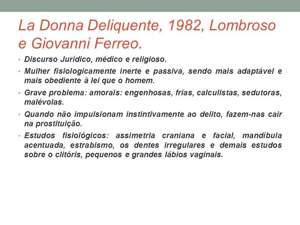 La Donna Deliquente, 1982, Lombroso e Giovanni Ferreo. Discurso Jurídico, médico e religioso. Mulher fisiologicamente inerte e passiva, sendo mais ada