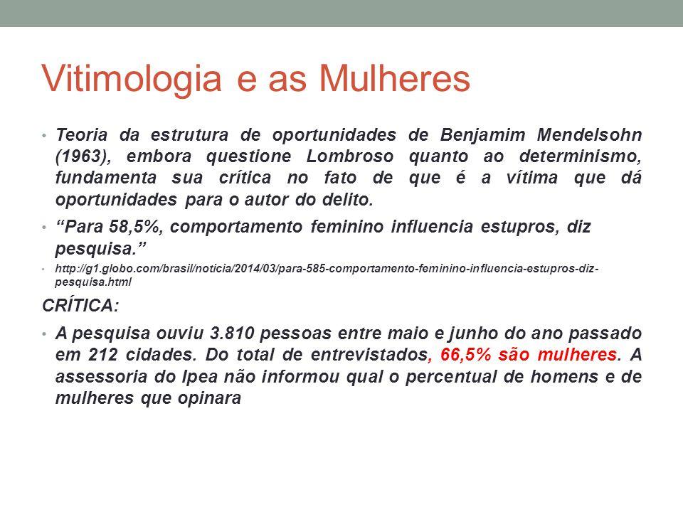 Vitimologia e as Mulheres Teoria da estrutura de oportunidades de Benjamim Mendelsohn (1963), embora questione Lombroso quanto ao determinismo, fundam
