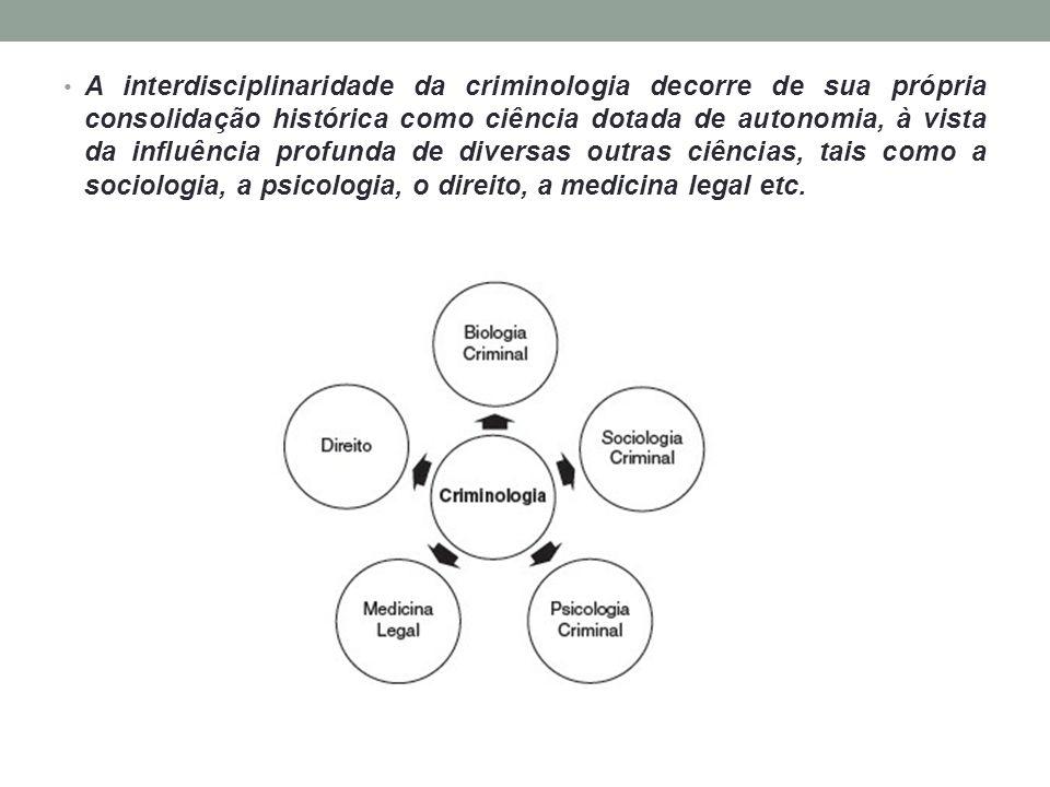 A interdisciplinaridade da criminologia decorre de sua própria consolidação histórica como ciência dotada de autonomia, à vista da influência profunda