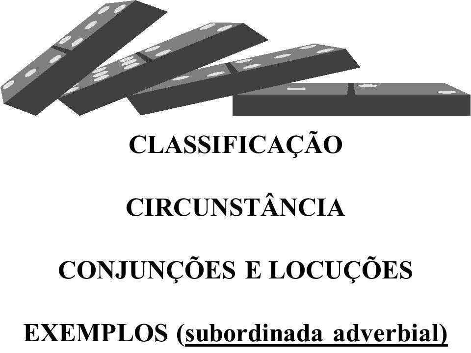 3.1 – CLASSIFICAÇÃO  Assim como os adjuntos adverbiais, as orações subordinadas adverbiais são classificadas de acordo com as circunstâncias que expr