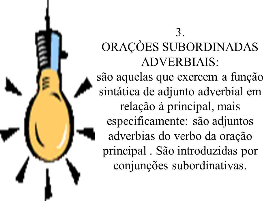 2.2 ORAÇÃO SUBORDINDADA: aquela que liga-se à principal por meio de conjunção ou pronome relativo e com ela mantém uma relação de dependência tanto de