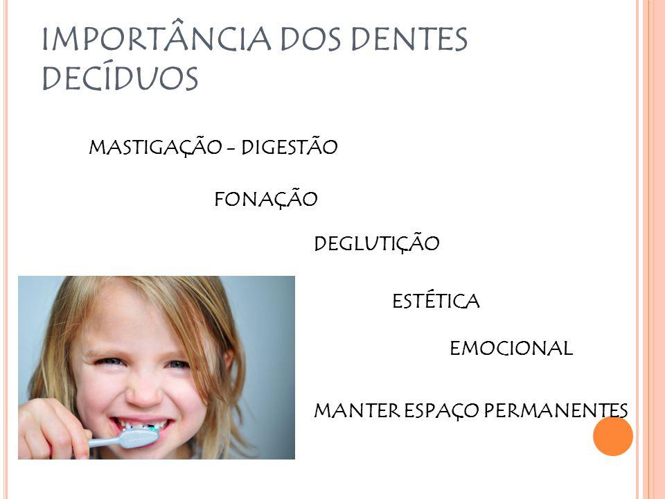 IMPORTÂNCIA DOS DENTES DECÍDUOS MASTIGAÇÃO - DIGESTÃO FONAÇÃO DEGLUTIÇÃO MANTER ESPAÇO PERMANENTES ESTÉTICA EMOCIONAL