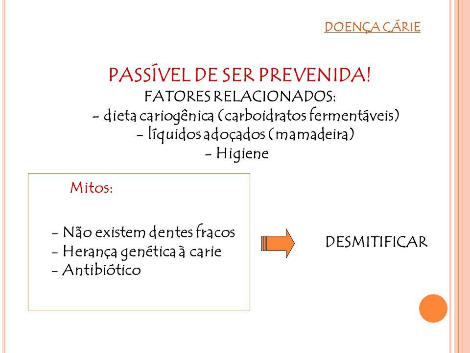 DOENÇA CÁRIE Mitos: PASSÍVEL DE SER PREVENIDA! FATORES RELACIONADOS: - dieta cariogênica (carboidratos fermentáveis) - líquidos adoçados (mamadeira) -