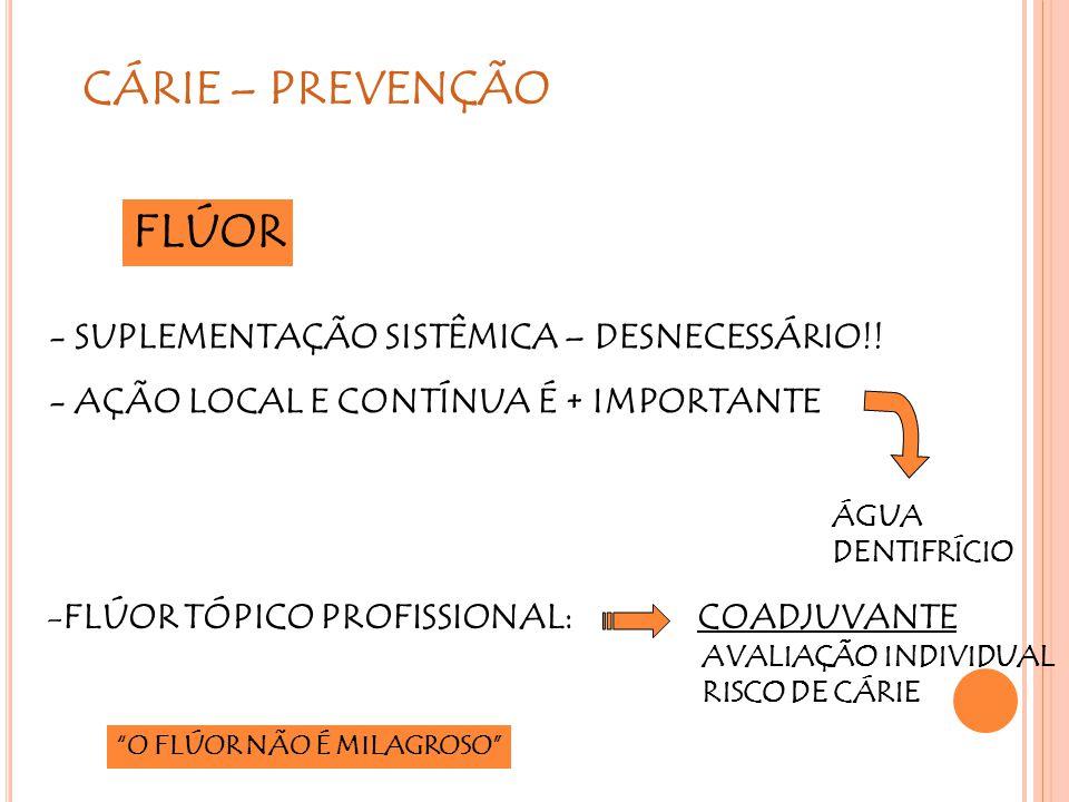 CÁRIE – PREVENÇÃO FLÚOR - SUPLEMENTAÇÃO SISTÊMICA – DESNECESSÁRIO!! - AÇÃO LOCAL E CONTÍNUA É + IMPORTANTE ÁGUA DENTIFRÍCIO -FLÚOR TÓPICO PROFISSIONAL