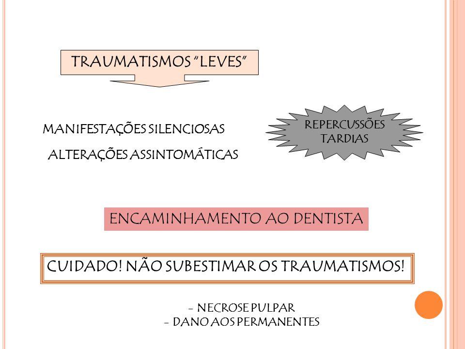 """TRAUMATISMOS """"LEVES"""" ALTERAÇÕES ASSINTOMÁTICAS ENCAMINHAMENTO AO DENTISTA REPERCUSSÕES TARDIAS CUIDADO! NÃO SUBESTIMAR OS TRAUMATISMOS! MANIFESTAÇÕES"""