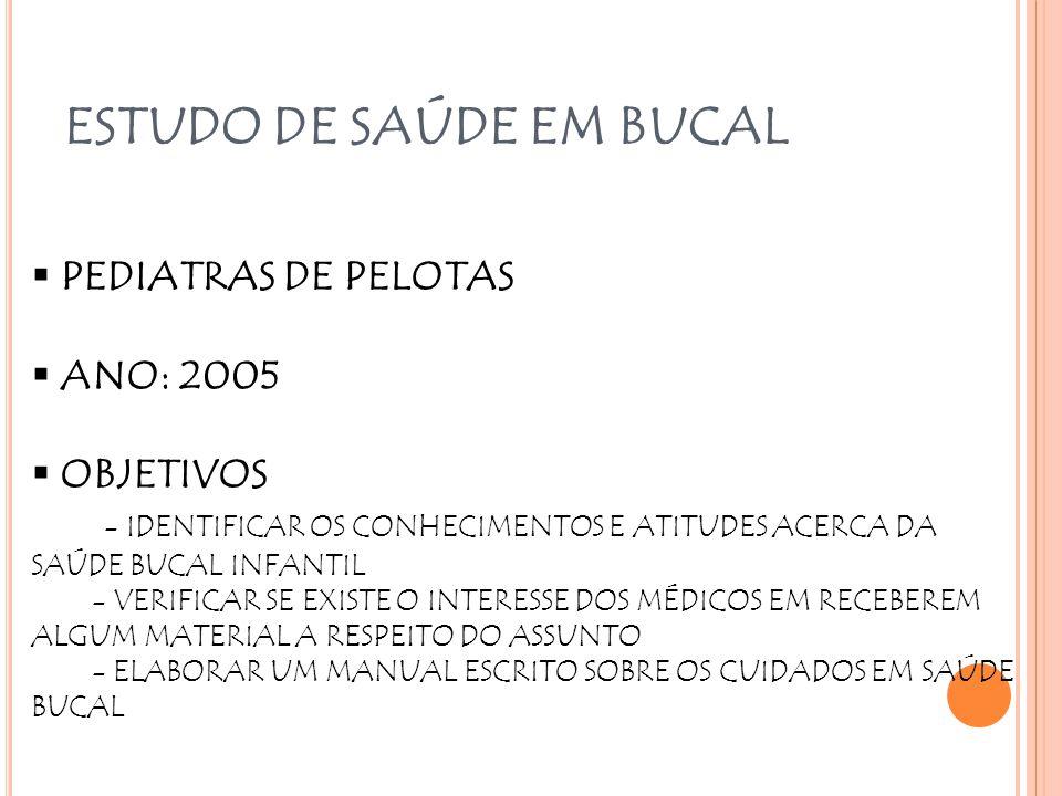 ESTUDO DE SAÚDE EM BUCAL  PEDIATRAS DE PELOTAS  ANO: 2005  OBJETIVOS - IDENTIFICAR OS CONHECIMENTOS E ATITUDES ACERCA DA SAÚDE BUCAL INFANTIL - VER