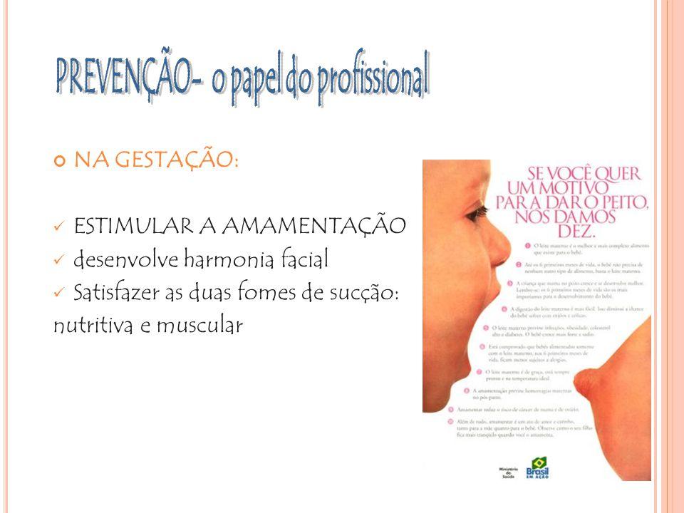 NA GESTAÇÃO: ESTIMULAR A AMAMENTAÇÃO desenvolve harmonia facial Satisfazer as duas fomes de sucção: nutritiva e muscular