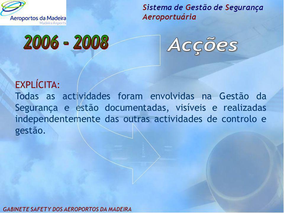 Sistema de Gestão de Segurança Aeroportuária EXPLÍCITA: Todas as actividades foram envolvidas na Gestão da Segurança e estão documentadas, visíveis e