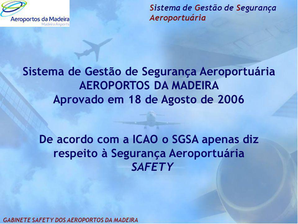 Sistema de Gestão de Segurança Aeroportuária AEROPORTOS DA MADEIRA Aprovado em 18 de Agosto de 2006 De acordo com a ICAO o SGSA apenas diz respeito à