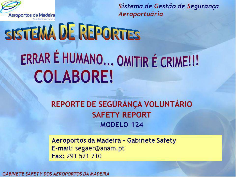 Sistema de Gestão de Segurança Aeroportuária REPORTE DE SEGURANÇA VOLUNTÁRIO SAFETY REPORT MODELO 124 Aeroportos da Madeira – Gabinete Safety E-mail: