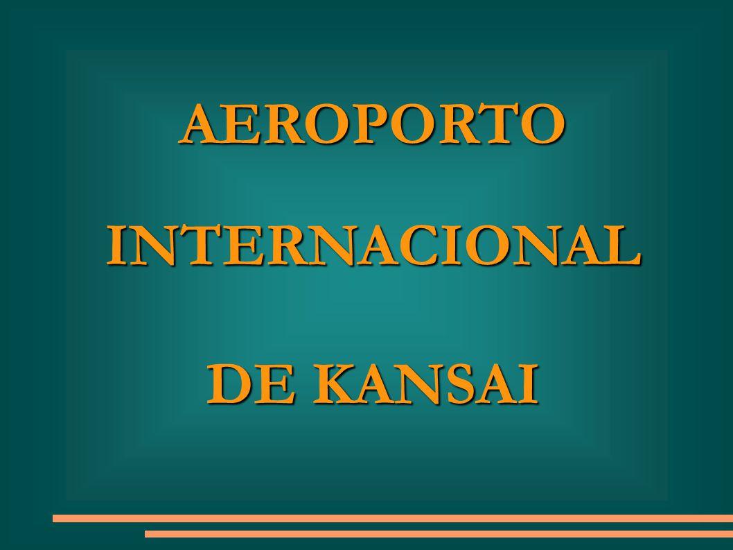 AEROPORTO INTERNACIONAL DE KANSAI O Aeroporto Inter- nacional de Kansai está localizado numa ilha artificial de 1,7 km de comprimento na Baía de Osaka, Japão.