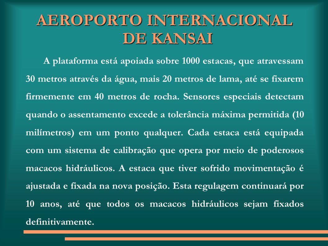 AEROPORTO INTERNACIONAL DE KANSAI A plataforma está apoiada sobre 1000 estacas, que atravessam 30 metros através da água, mais 20 metros de lama, até