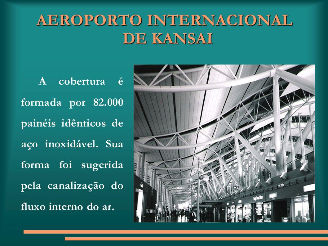 AEROPORTO INTERNACIONAL DE KANSAI A cobertura é formada por 82.000 painéis idênticos de aço inoxidável. Sua forma foi sugerida pela canalização do flu