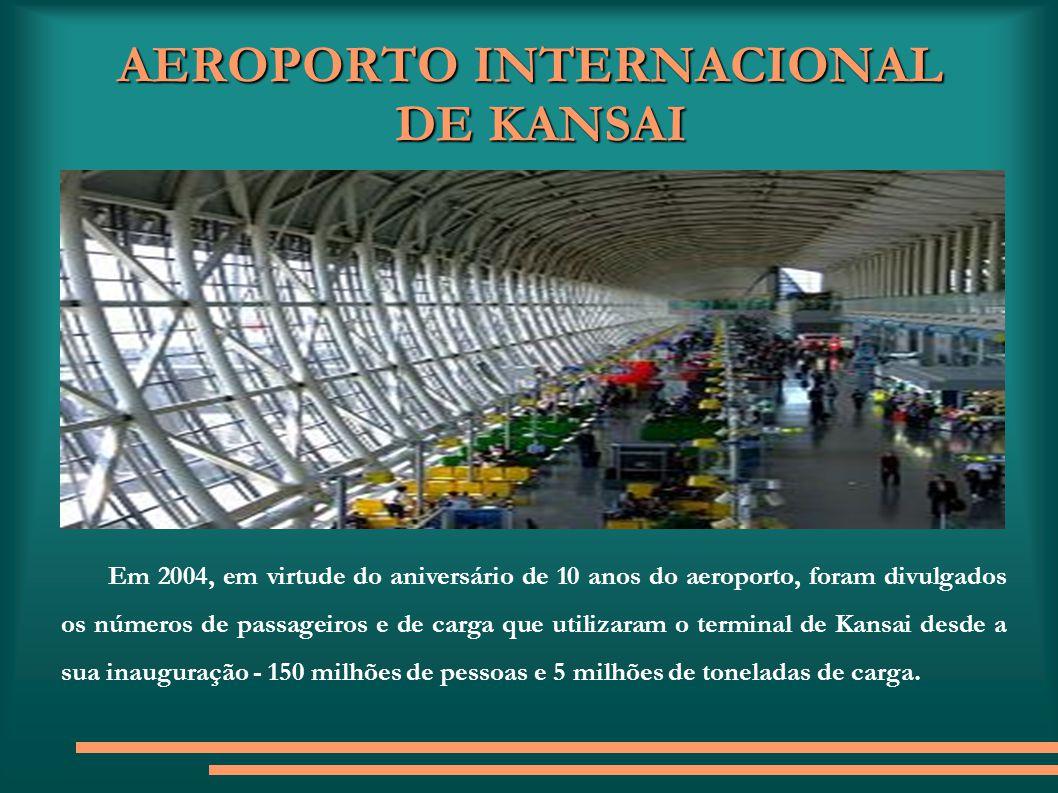 AEROPORTO INTERNACIONAL DE KANSAI Em 2004, em virtude do aniversário de 10 anos do aeroporto, foram divulgados os números de passageiros e de carga qu