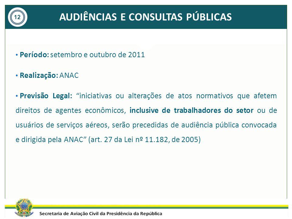 """AUDIÊNCIAS E CONSULTAS PÚBLICAS 12 Período: setembro e outubro de 2011 Realização: ANAC Previsão Legal: """"iniciativas ou alterações de atos normativos"""