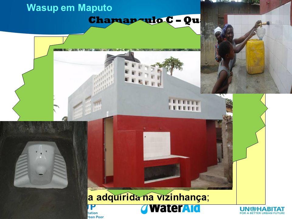 Wasup em Maputo Chamanculo C – Quarteirão 5 Situação inicial 37 famílias usando a mesma latrina; Rotação muito frequente do local da latrina; Solos to