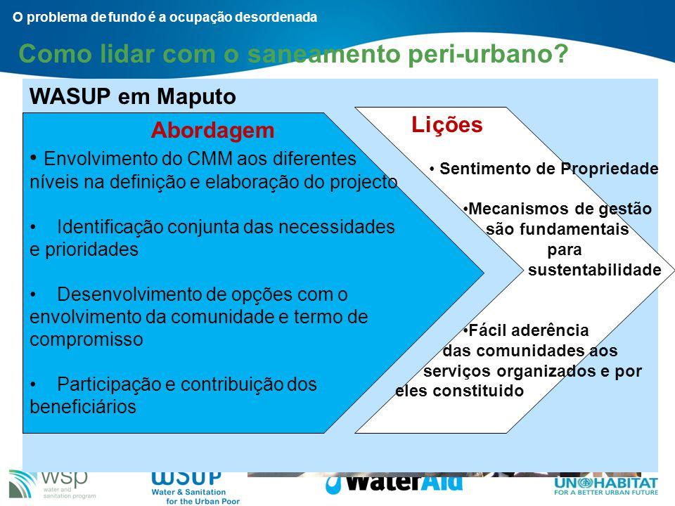 Como lidar com o saneamento peri-urbano? Planeamento participativo – UN-Habitat na Beira e Dondo O problema de fundo é a ocupação desordenada O Proces