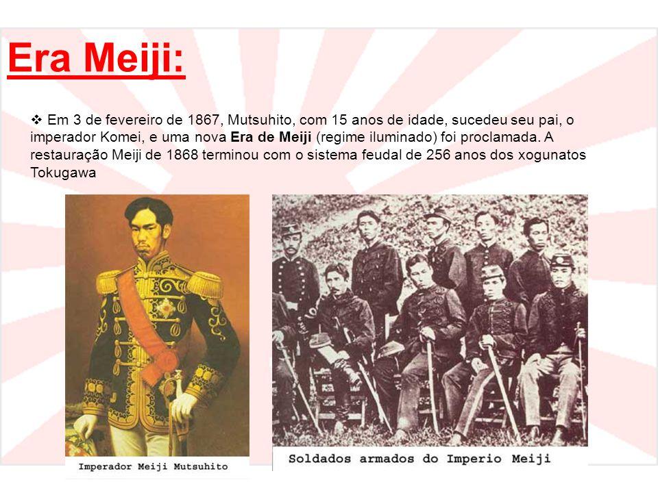 Era Meiji:  Em 3 de fevereiro de 1867, Mutsuhito, com 15 anos de idade, sucedeu seu pai, o imperador Komei, e uma nova Era de Meiji (regime iluminado) foi proclamada.