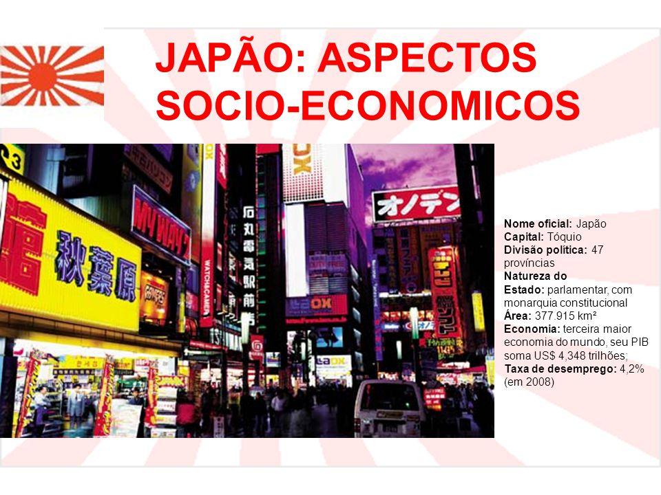 JAPÃO: ASPECTOS SOCIO-ECONOMICOS Nome oficial: Japão Capital: Tóquio Divisão política: 47 províncias Natureza do Estado: parlamentar, com monarquia constitucional Área: 377.915 km² Economia: terceira maior economia do mundo, seu PIB soma US$ 4,348 trilhões; Taxa de desemprego: 4,2% (em 2008)