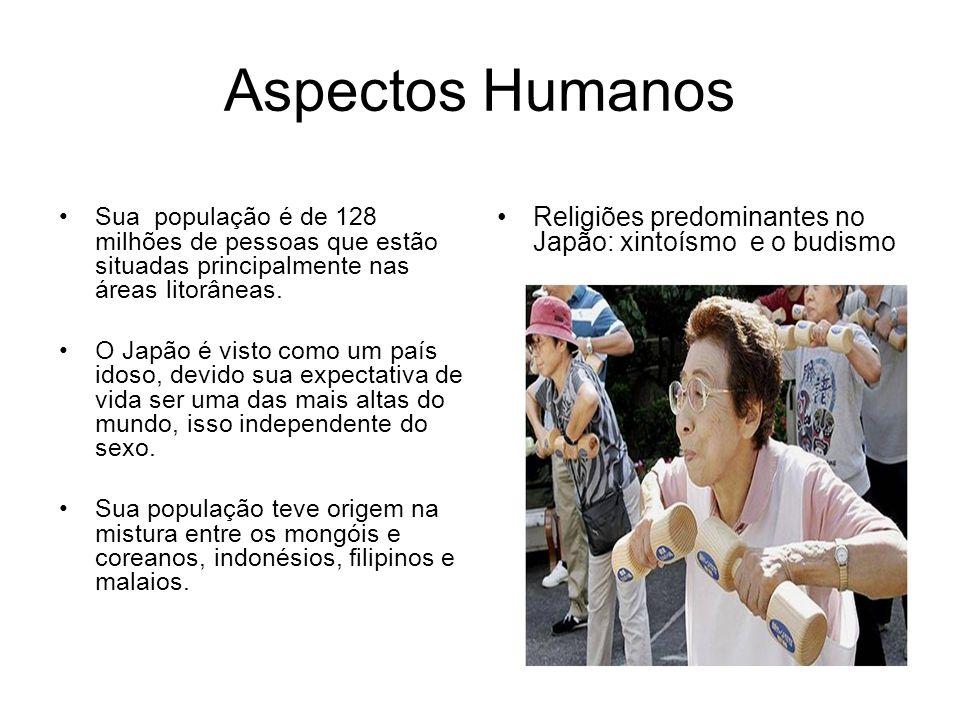 Aspectos Humanos Sua população é de 128 milhões de pessoas que estão situadas principalmente nas áreas litorâneas. O Japão é visto como um país idoso,