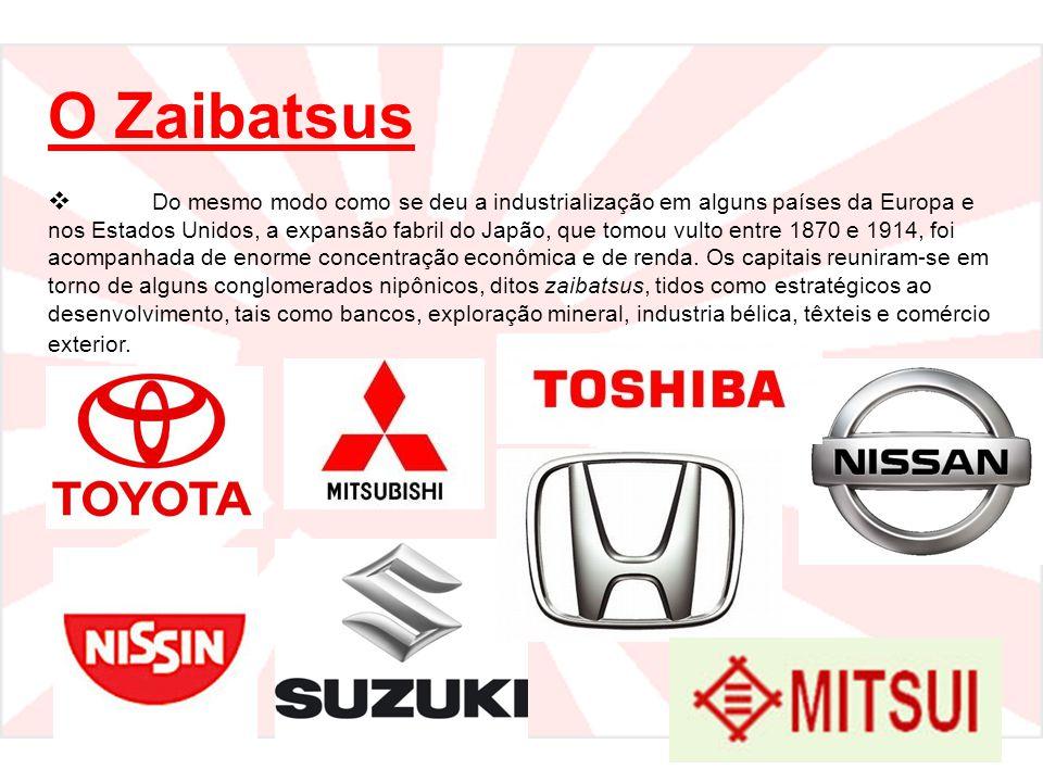 O Zaibatsus  Do mesmo modo como se deu a industrialização em alguns países da Europa e nos Estados Unidos, a expansão fabril do Japão, que tomou vult