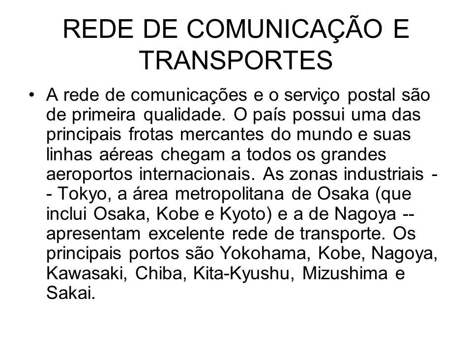 REDE DE COMUNICAÇÃO E TRANSPORTES A rede de comunicações e o serviço postal são de primeira qualidade.