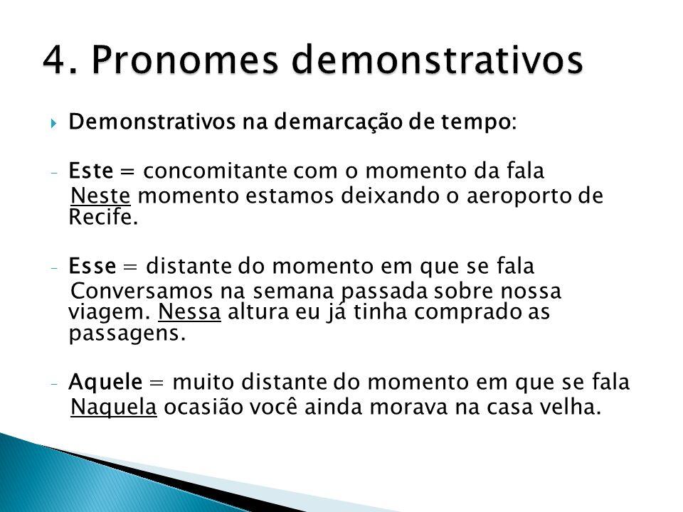  Demonstrativos na demarcação de tempo: - Este = concomitante com o momento da fala Neste momento estamos deixando o aeroporto de Recife. - Esse = di
