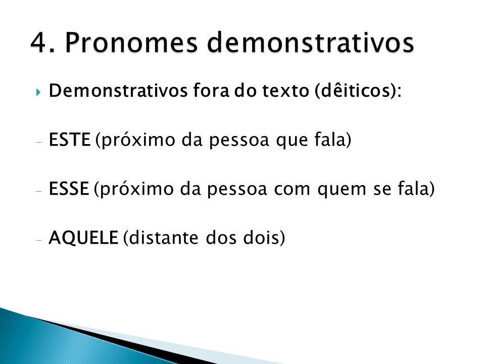  Demonstrativos fora do texto (dêiticos): - ESTE (próximo da pessoa que fala) - ESSE (próximo da pessoa com quem se fala) - AQUELE (distante dos dois)