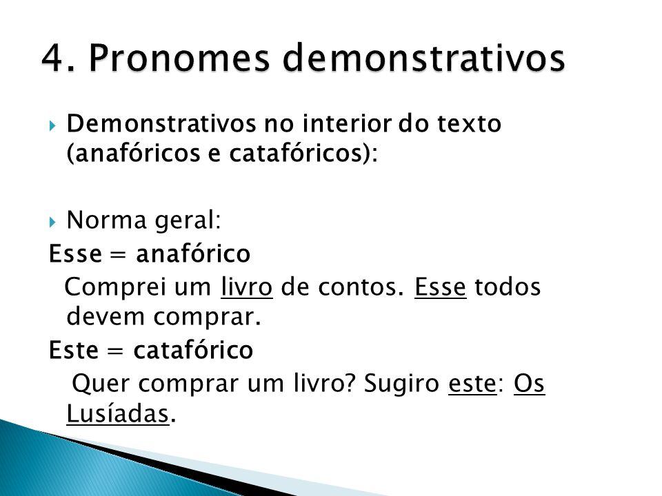  Demonstrativos no interior do texto (anafóricos e catafóricos):  Norma geral: Esse = anafórico Comprei um livro de contos. Esse todos devem comprar