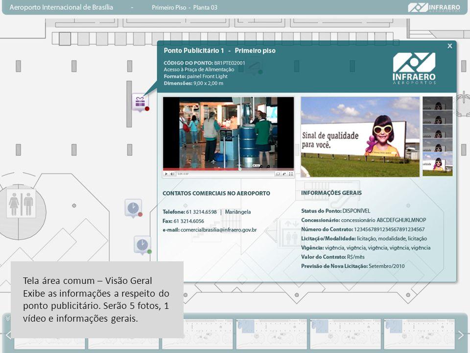 Tela área comum – Visão Geral Exibe as informações a respeito do ponto publicitário.