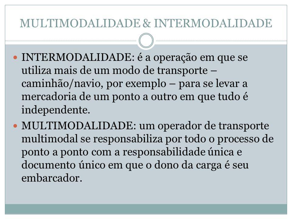 MULTIMODALIDADE & INTERMODALIDADE INTERMODALIDADE: é a operação em que se utiliza mais de um modo de transporte – caminhão/navio, por exemplo – para se levar a mercadoria de um ponto a outro em que tudo é independente.