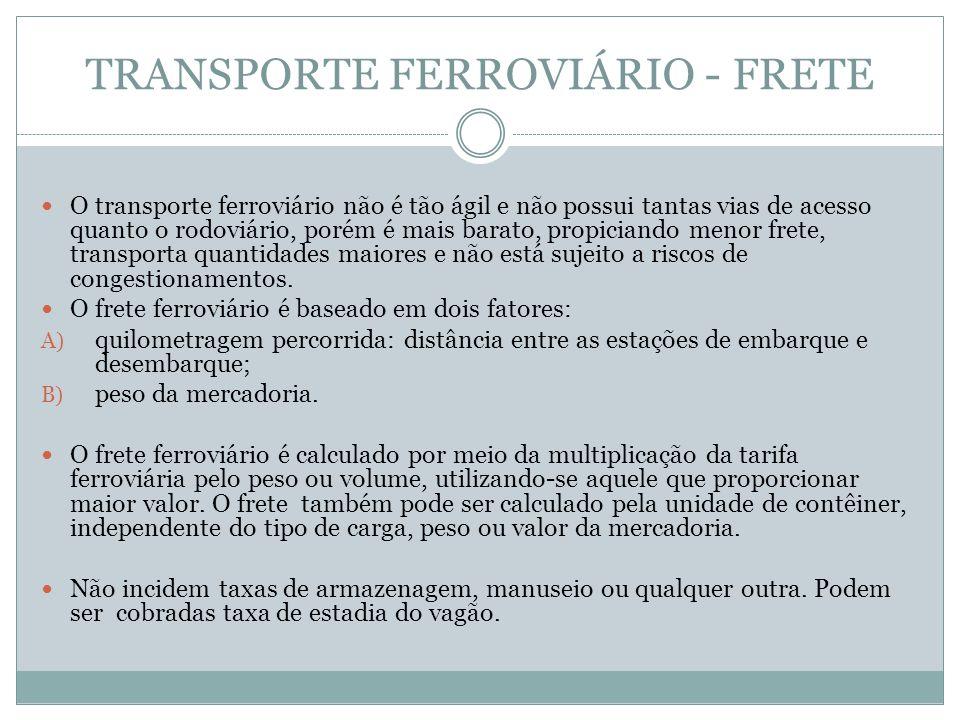 TRANSPORTE FERROVIÁRIO - FRETE O transporte ferroviário não é tão ágil e não possui tantas vias de acesso quanto o rodoviário, porém é mais barato, propiciando menor frete, transporta quantidades maiores e não está sujeito a riscos de congestionamentos.