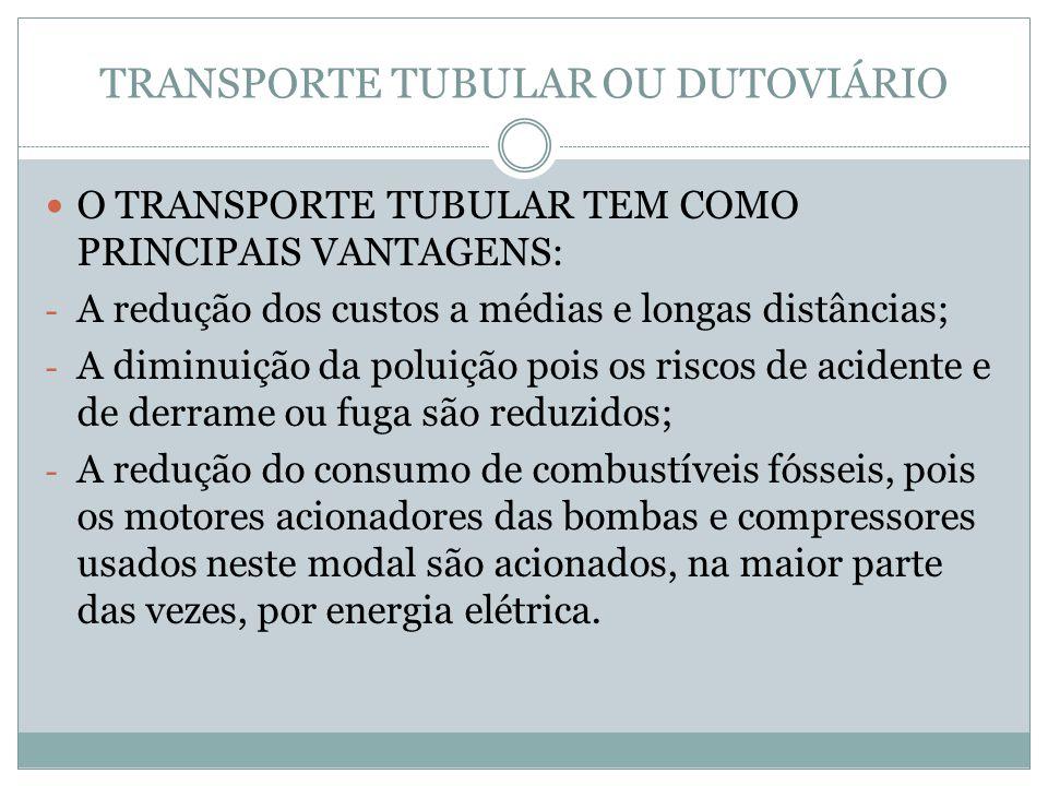 TRANSPORTE TUBULAR OU DUTOVIÁRIO O TRANSPORTE TUBULAR TEM COMO PRINCIPAIS VANTAGENS: - A redução dos custos a médias e longas distâncias; - A diminuição da poluição pois os riscos de acidente e de derrame ou fuga são reduzidos; - A redução do consumo de combustíveis fósseis, pois os motores acionadores das bombas e compressores usados neste modal são acionados, na maior parte das vezes, por energia elétrica.