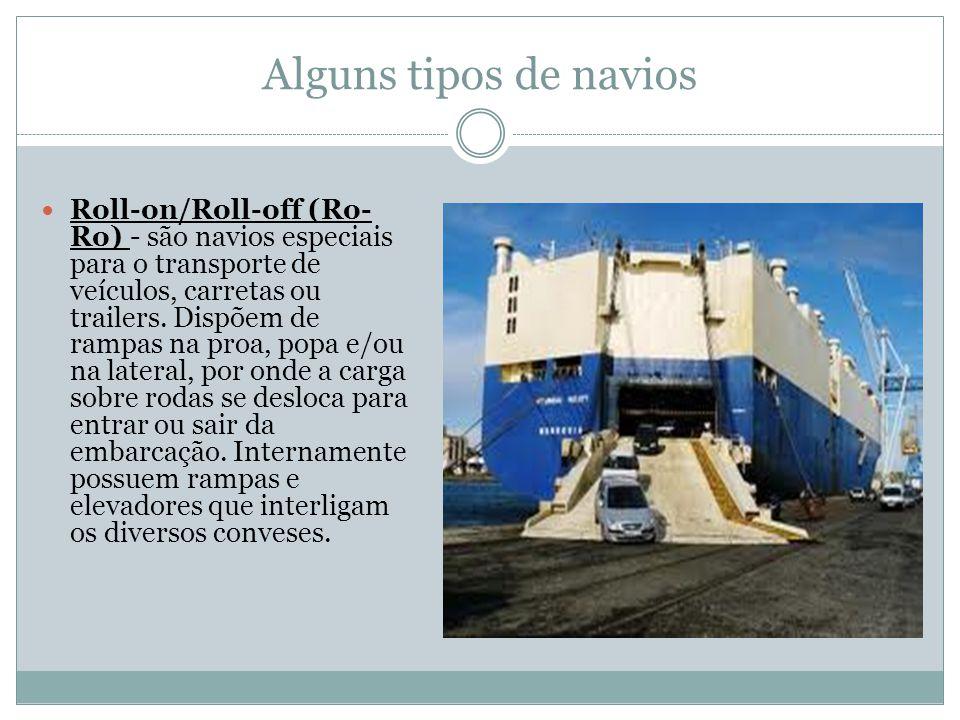 Alguns tipos de navios Roll-on/Roll-off (Ro- Ro) - são navios especiais para o transporte de veículos, carretas ou trailers.