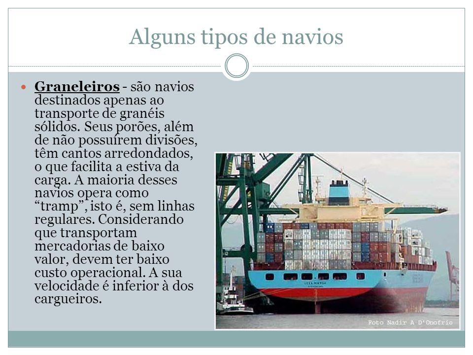 Alguns tipos de navios Graneleiros - são navios destinados apenas ao transporte de granéis sólidos.