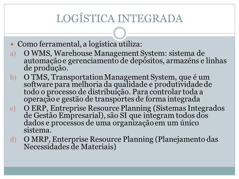 LOGÍSTICA INTEGRADA Como ferramental, a logística utiliza: a) O WMS, Warehouse Management System: sistema de automação e gerenciamento de depósitos, armazéns e linhas de produção.