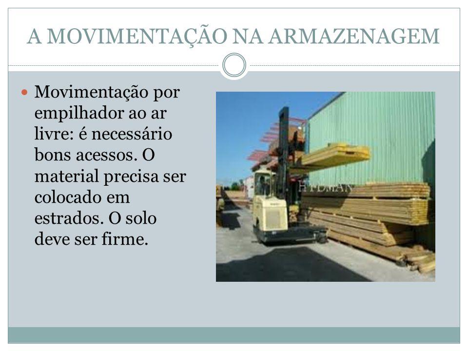 A MOVIMENTAÇÃO NA ARMAZENAGEM Movimentação por empilhador ao ar livre: é necessário bons acessos.