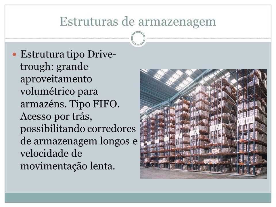 Estruturas de armazenagem Estrutura tipo Drive- trough: grande aproveitamento volumétrico para armazéns.