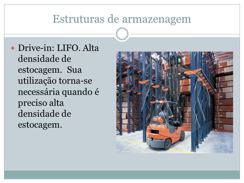 Estruturas de armazenagem Drive-in: LIFO.Alta densidade de estocagem.