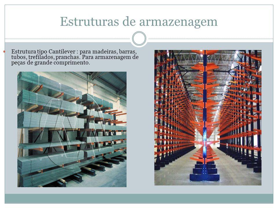 Estruturas de armazenagem Estrutura tipo Cantilever : para madeiras, barras, tubos, trefilados, pranchas.