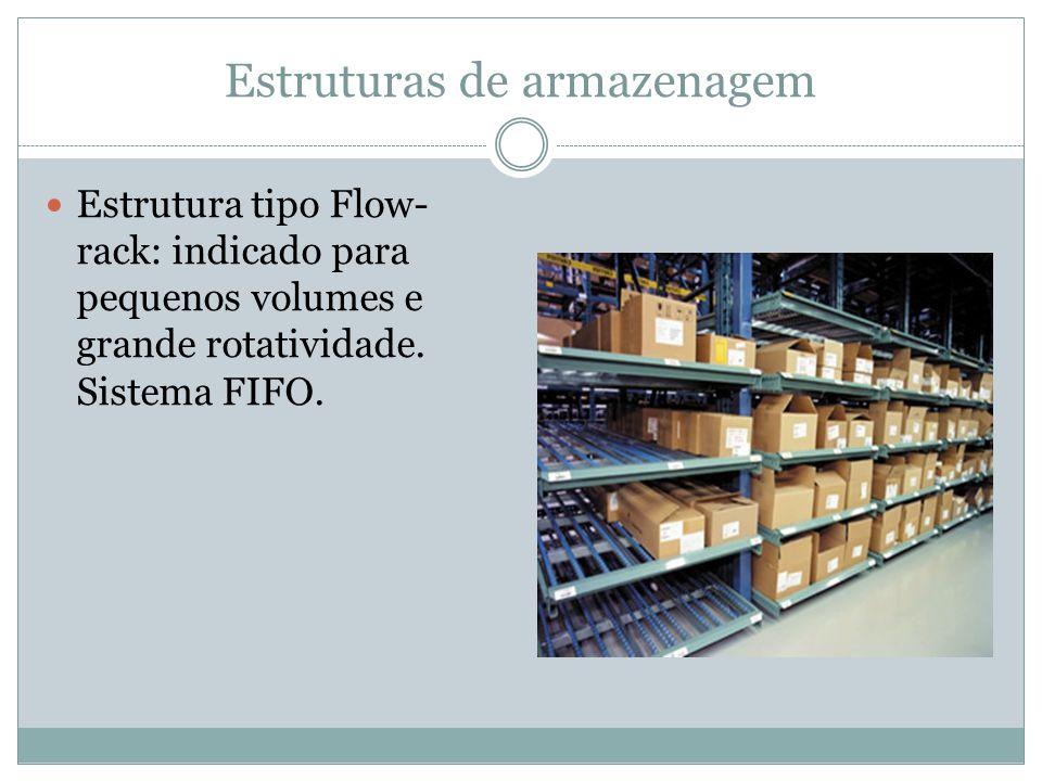 Estruturas de armazenagem Estrutura tipo Flow- rack: indicado para pequenos volumes e grande rotatividade.