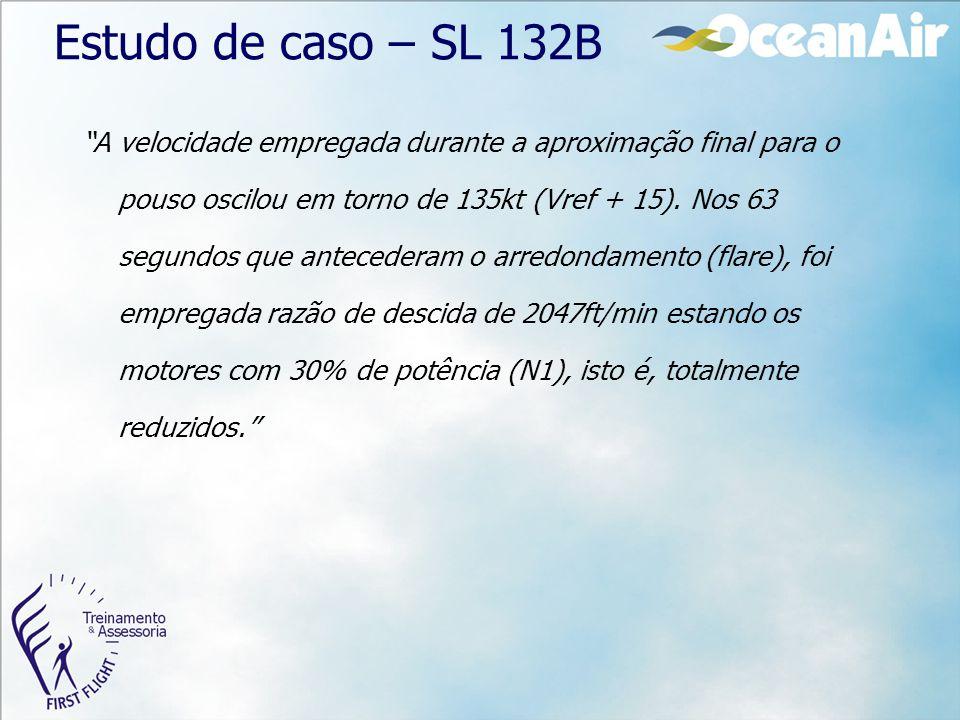"""Estudo de caso – SL 132B """"A velocidade empregada durante a aproximação final para o pouso oscilou em torno de 135kt (Vref + 15). Nos 63 segundos que a"""