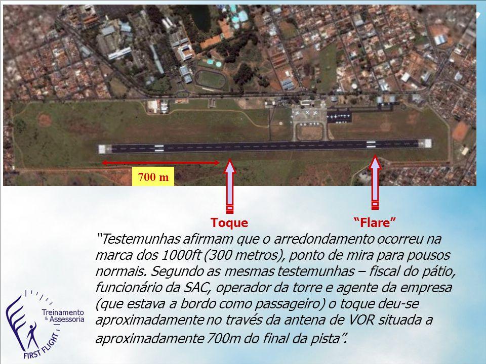 """700 m """"Testemunhas afirmam que o arredondamento ocorreu na marca dos 1000ft (300 metros), ponto de mira para pousos normais. Segundo as mesmas testemu"""