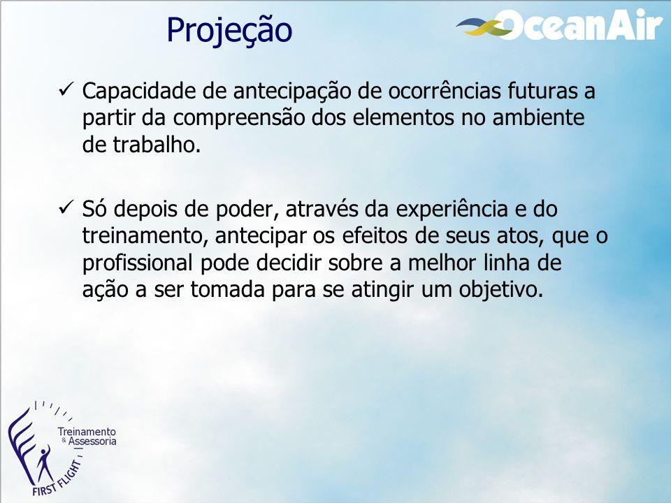 Projeção Capacidade de antecipação de ocorrências futuras a partir da compreensão dos elementos no ambiente de trabalho. Só depois de poder, através d