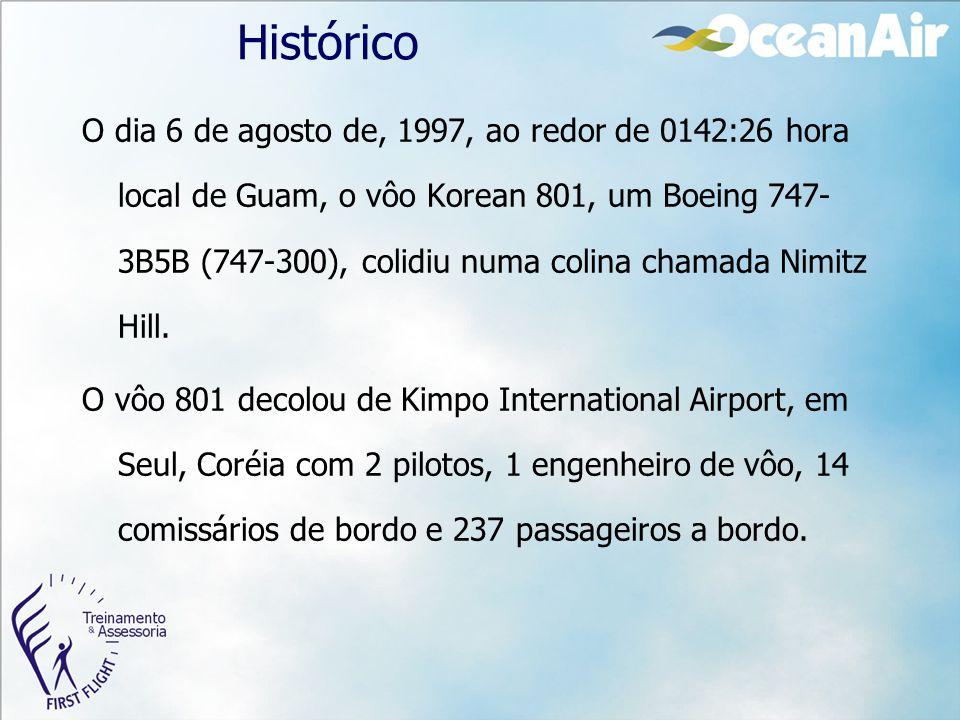 Histórico O dia 6 de agosto de, 1997, ao redor de 0142:26 hora local de Guam, o vôo Korean 801, um Boeing 747- 3B5B (747-300), colidiu numa colina cha