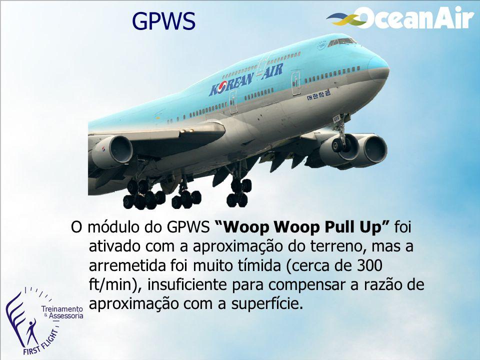 """GPWS O módulo do GPWS """"Woop Woop Pull Up"""" foi ativado com a aproximação do terreno, mas a arremetida foi muito tímida (cerca de 300 ft/min), insuficie"""