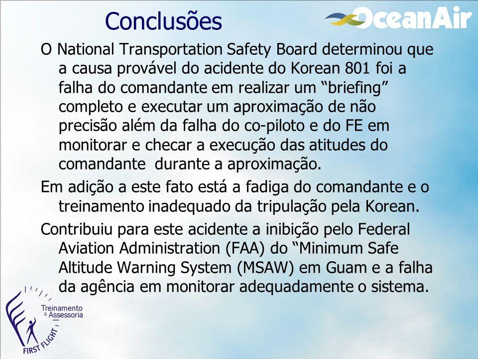 """Conclusões O National Transportation Safety Board determinou que a causa provável do acidente do Korean 801 foi a falha do comandante em realizar um """""""